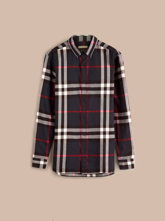 Navy Check Cotton Flannel Shirt Navy - cell image 3