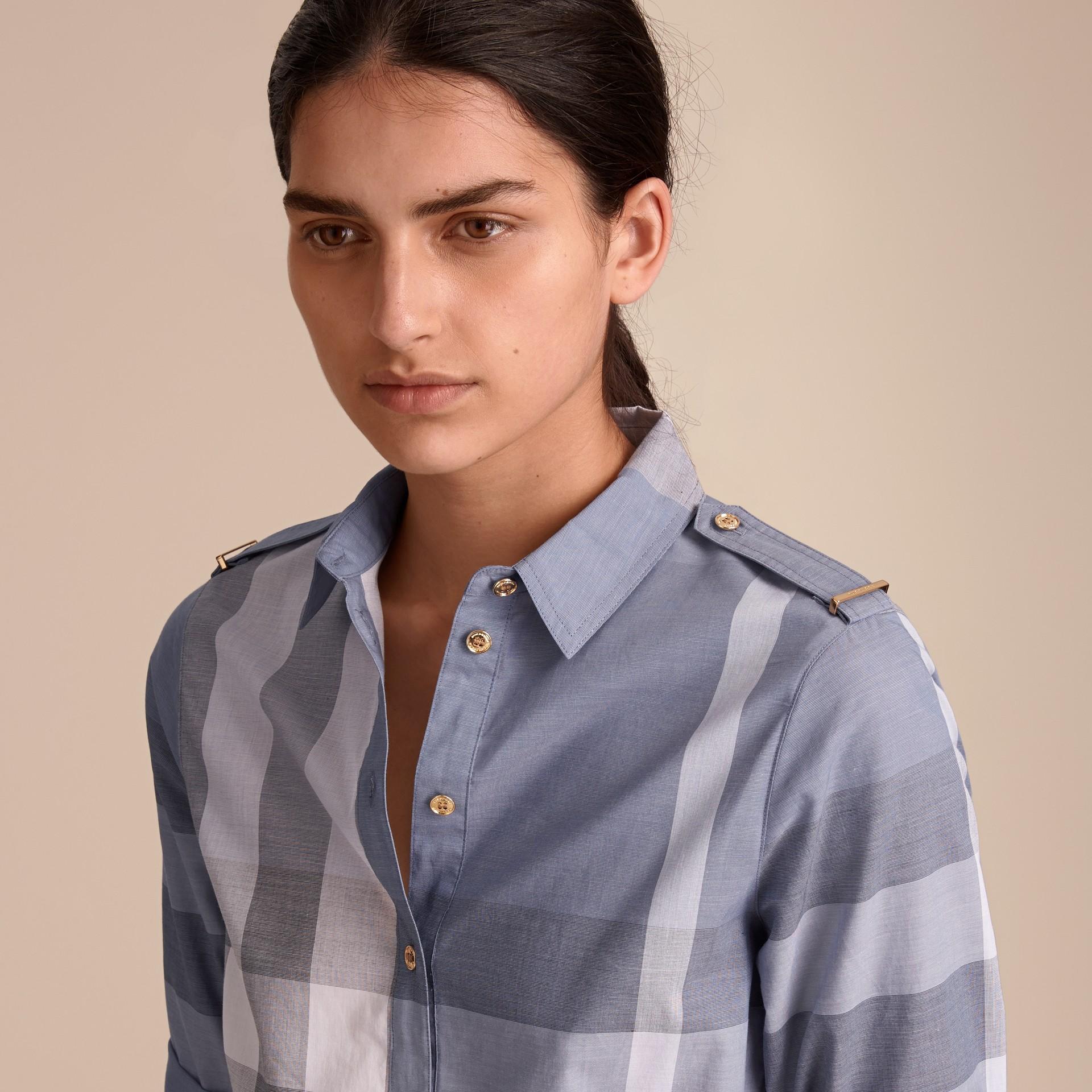 Tie-waist Check Cotton Shirt Dress - gallery image 5