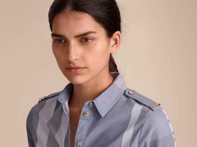 Tie-waist Check Cotton Shirt Dress - cell image 4