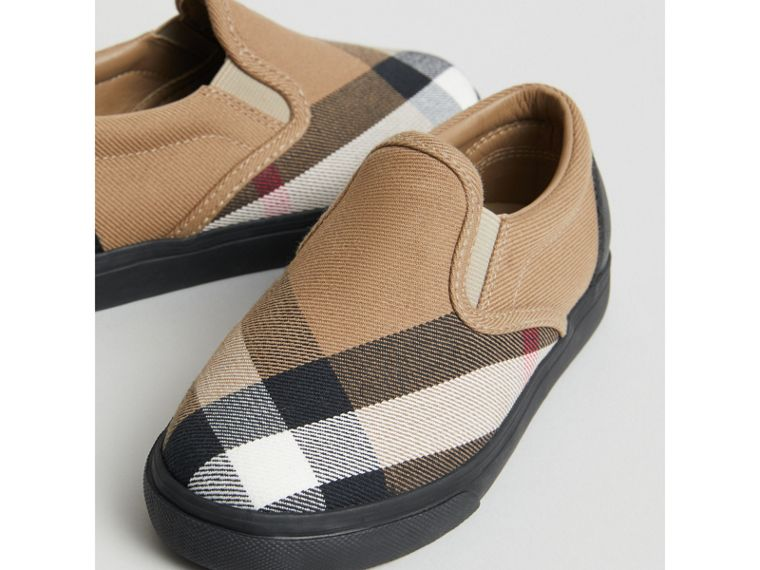 House Check and Leather Slip-on Sneakers in Classic/black | Burberry United Kingdom - cell image 1