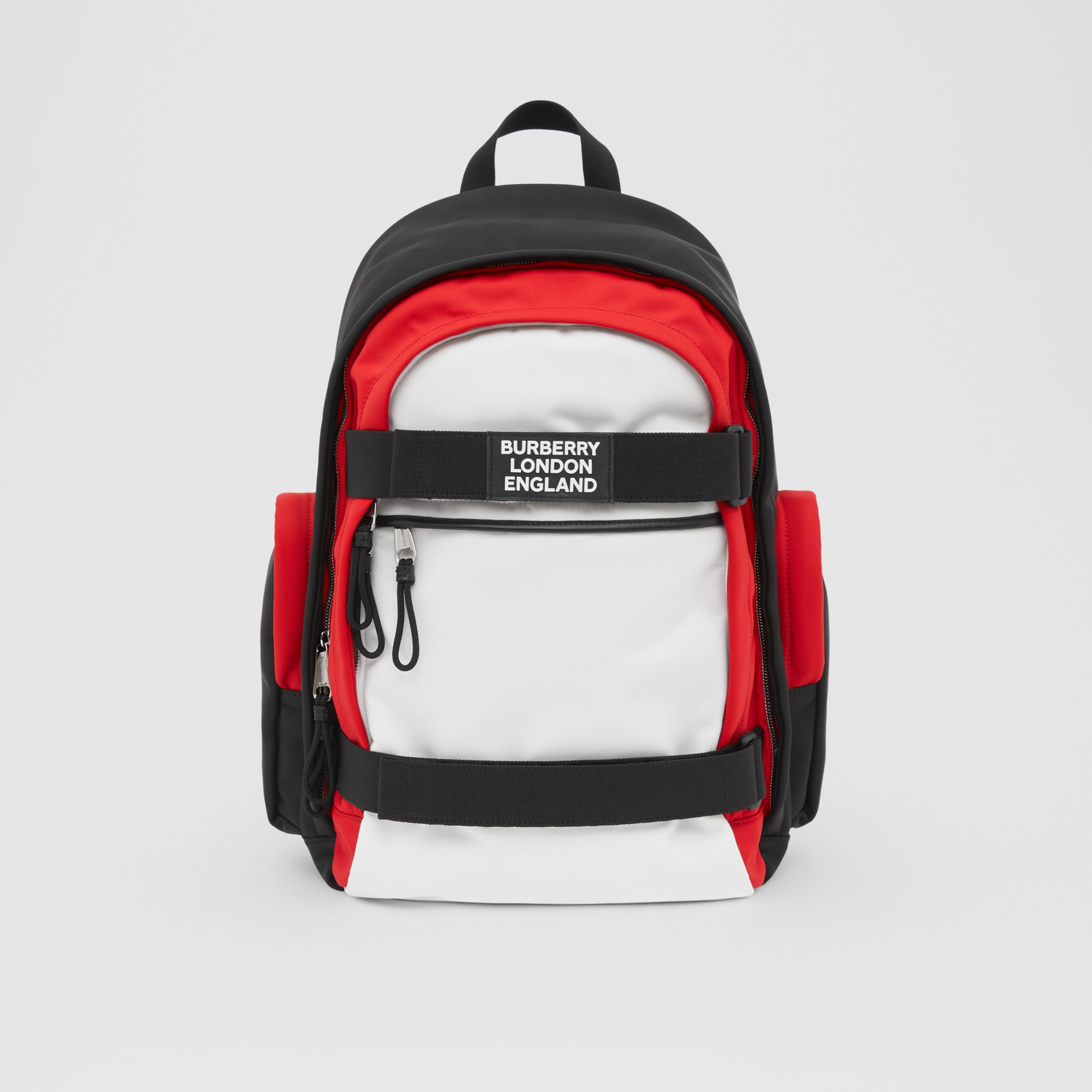 Large Colour Block Nevis Backpack in White/red/black | Burberry - 1