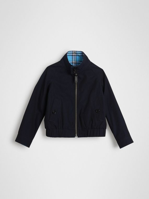 Veste Harrington en coton à motif check réversible (Marine Brillant)