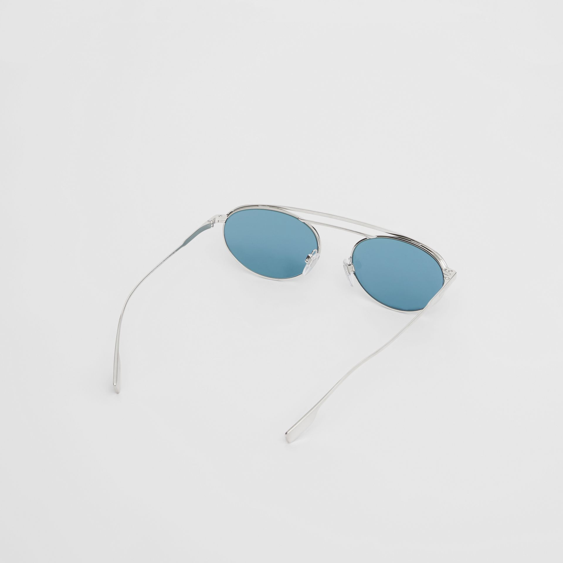 Oval Frame Sunglasses in Light Blue - Women | Burberry - gallery image 4