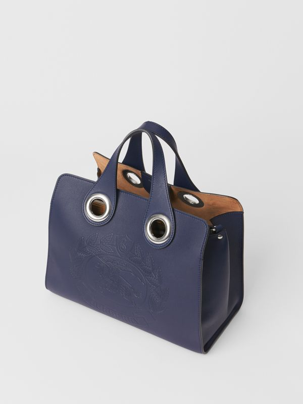 The Leather Crest Grommet Detail Tote in Regency Blue - Women | Burberry Canada - cell image 2