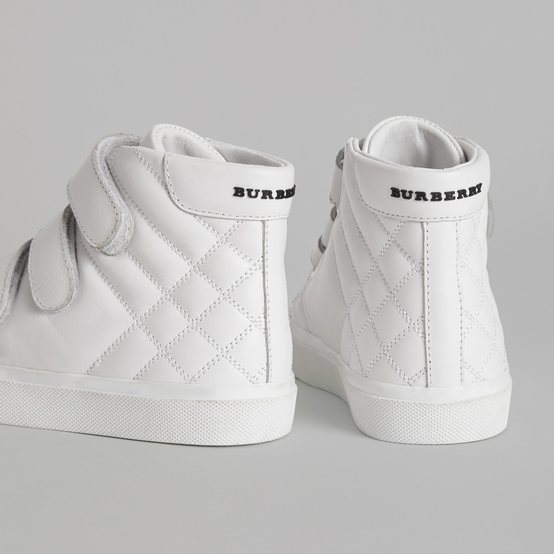 Quilted Leather High-top Sneakers in Optic White | Burberry - gallery image 3