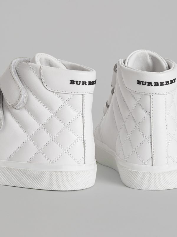 Quilted Leather High-top Sneakers in Optic White | Burberry - cell image 3