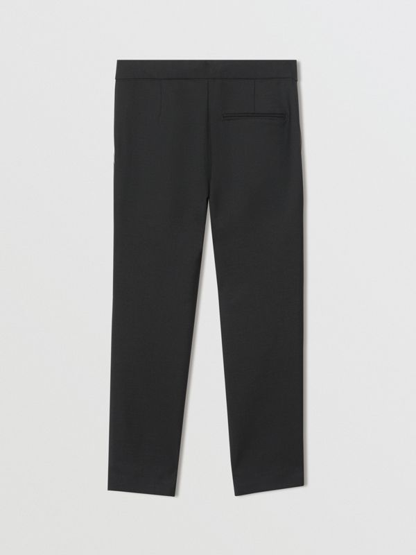 Piping Detail Wool Mohair Tailored Trousers in Black - Boy | Burberry - cell image 3