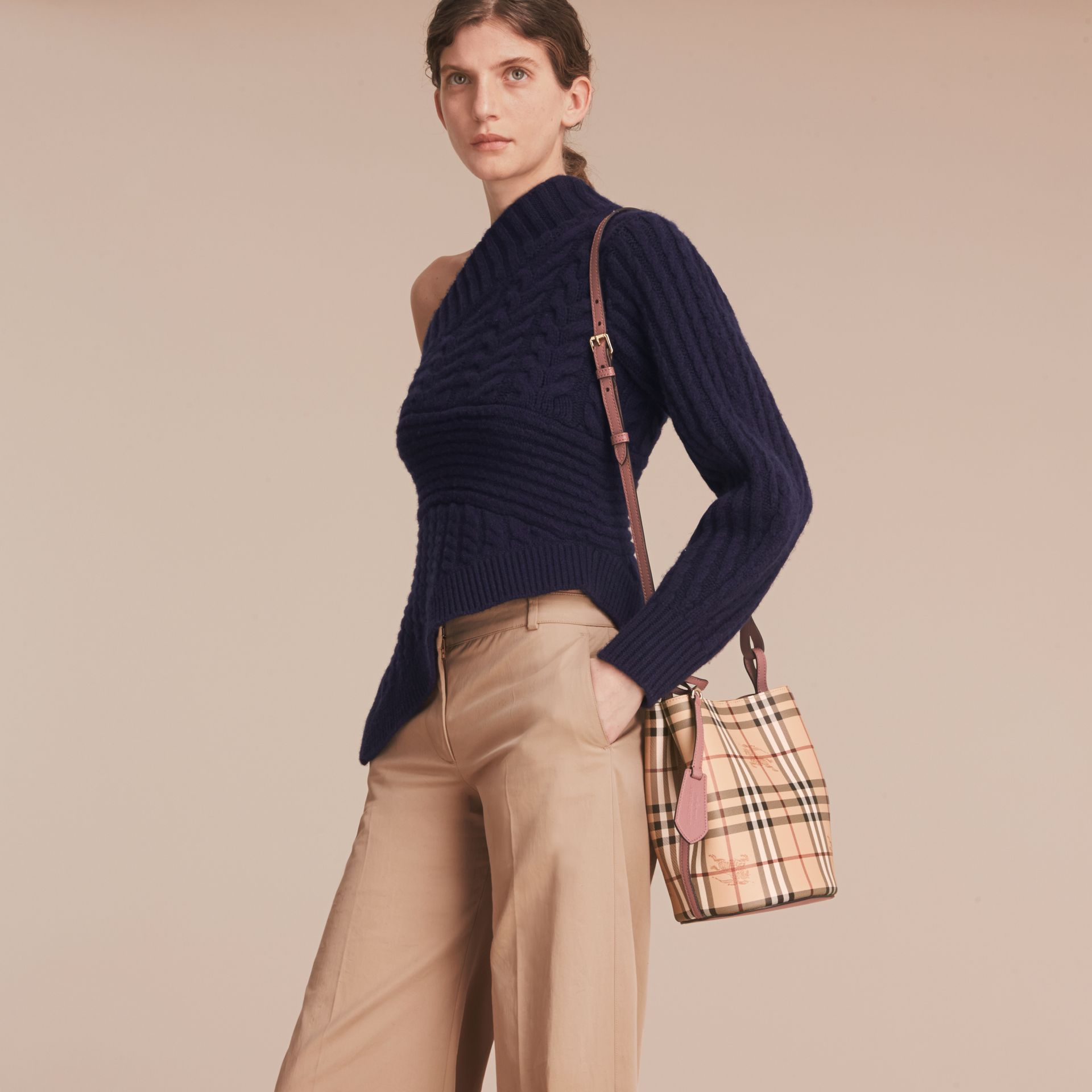 Leather and Haymarket Check Crossbody Bucket Bag in Light Elderberry - Women | Burberry - gallery image 3