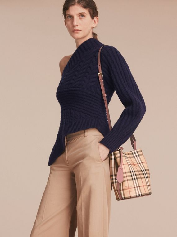 Leather and Haymarket Check Crossbody Bucket Bag in Light Elderberry - Women | Burberry - cell image 2