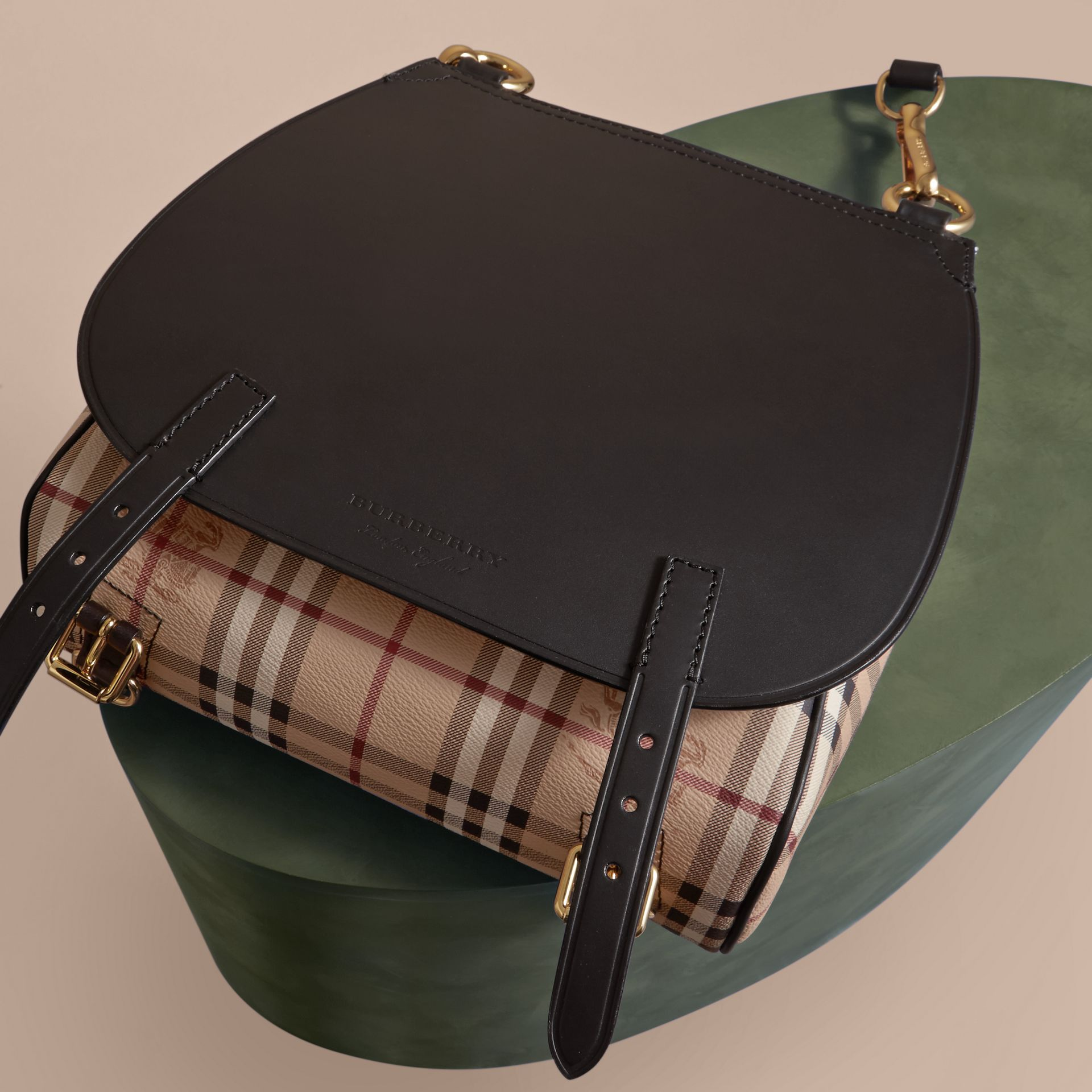 The Small Bridle Bag in Leather and Haymarket Check Black - gallery image 7