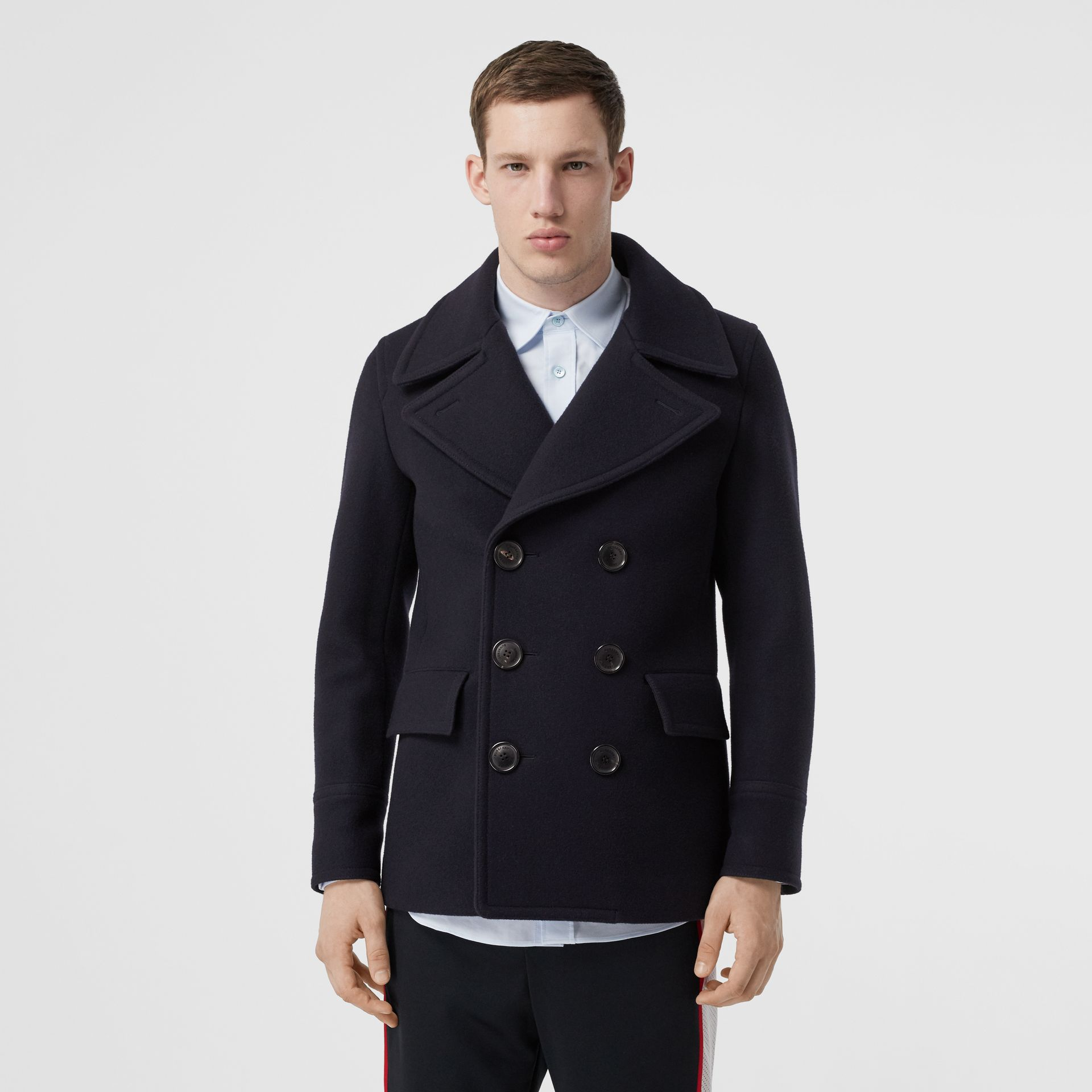Wool Blend Pea Coat in Navy - Men | Burberry United States - gallery image 5