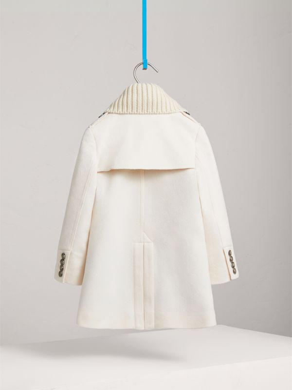 Detachable Rib Knit Collar Tailored Cashmere Coat in Natural White | Burberry - cell image 3