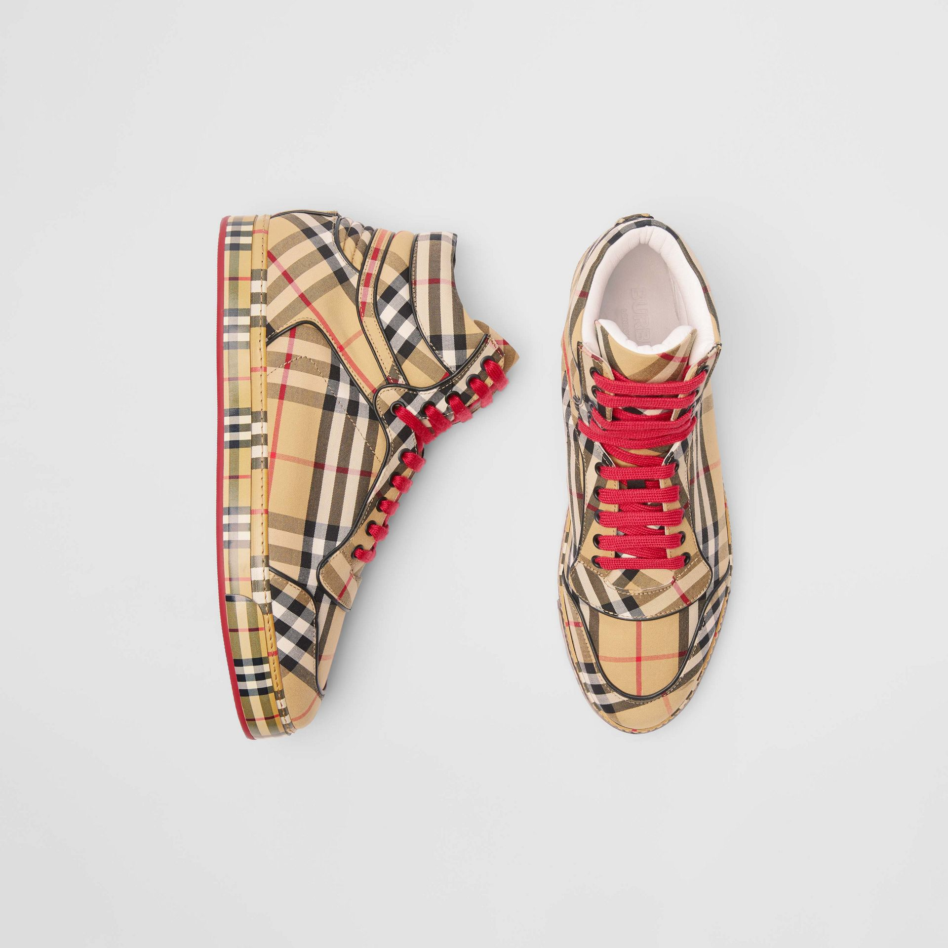 Vintage Check Cotton High-top Sneakers in Antique Yellow - Men | Burberry Australia - gallery image 0