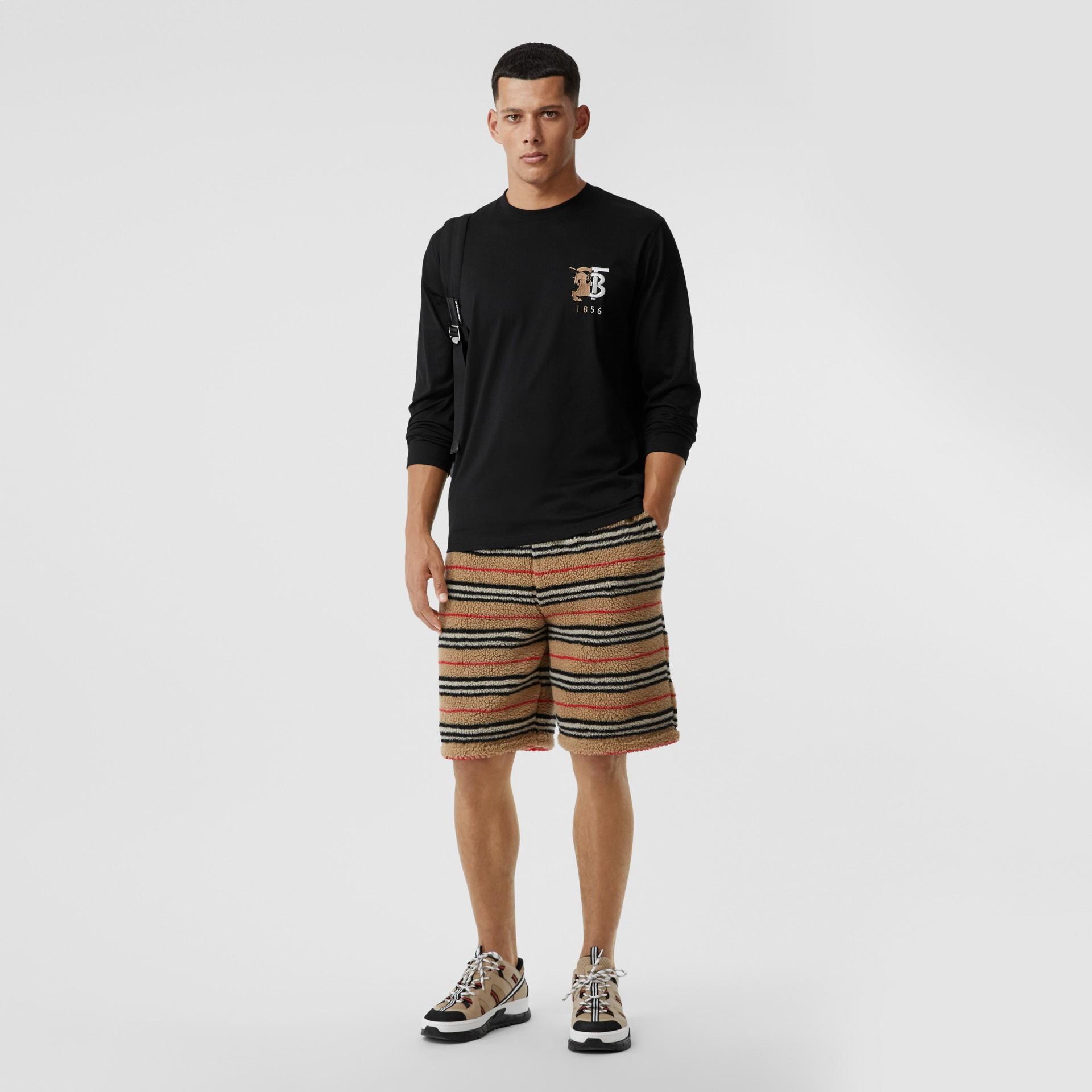 Haut à manches longues en coton avec logo (Noir) - Homme | Burberry - photo de la galerie 0