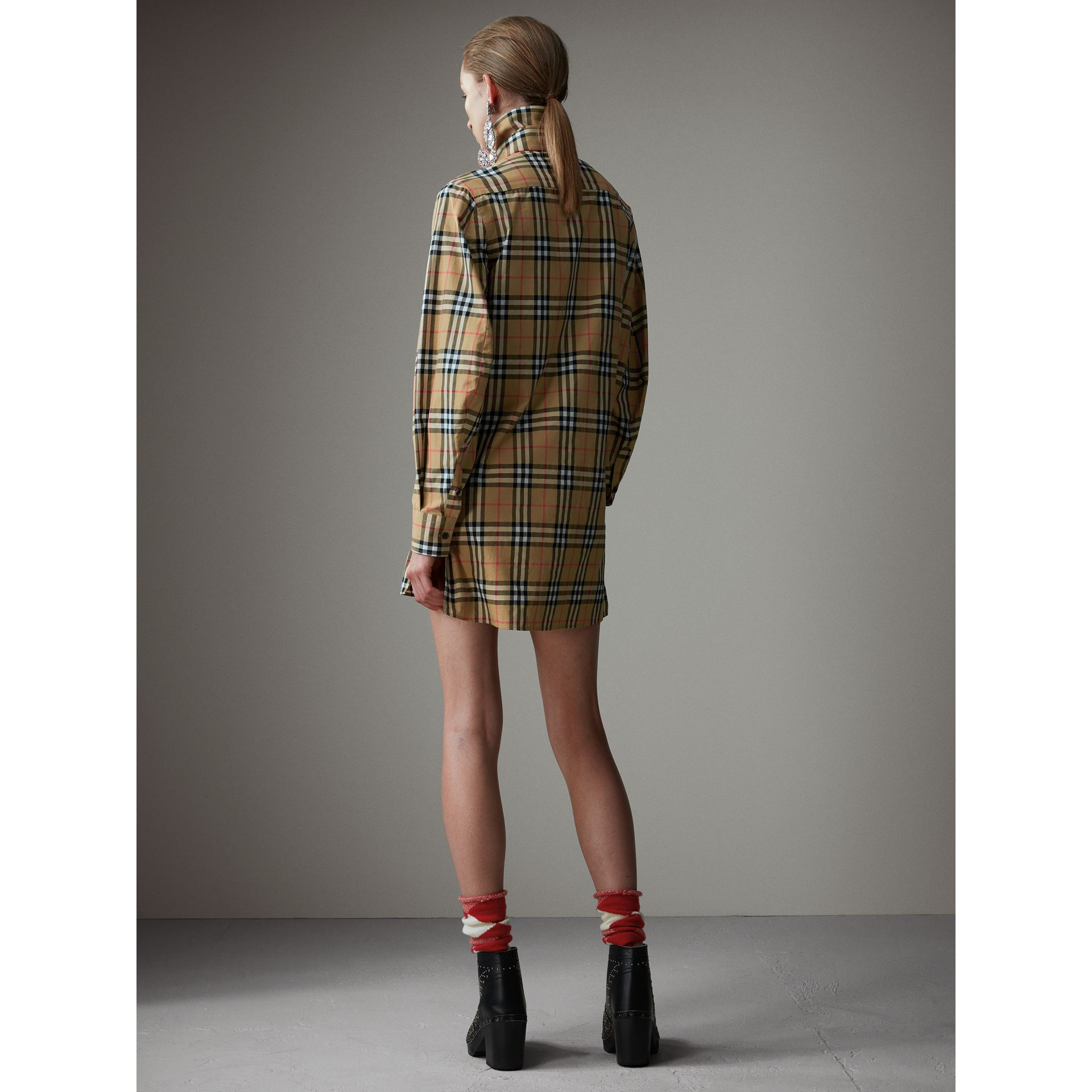 Vintage Check Cotton Tie-neck Riding Shirt in Antique Yellow - Women | Burberry Hong Kong - gallery image 3