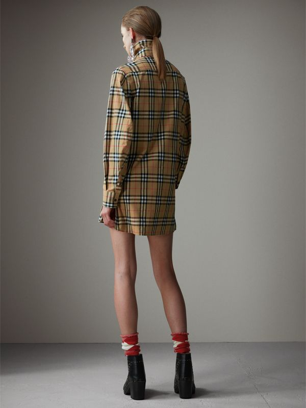 Vintage Check Cotton Tie-neck Riding Shirt in Antique Yellow - Women | Burberry - cell image 2