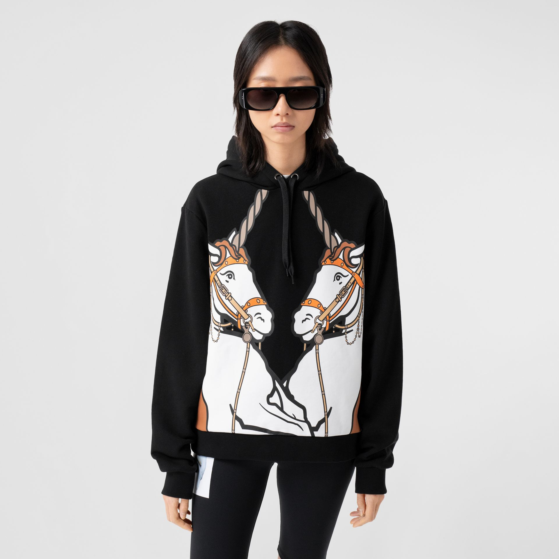 Unicorn Print Cotton Oversized Hoodie in Black - Women | Burberry Hong Kong S.A.R - gallery image 5