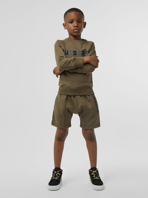 Logo Detail Cotton Drawcord Shorts in Military Olive | Burberry Singapore - cell image 2