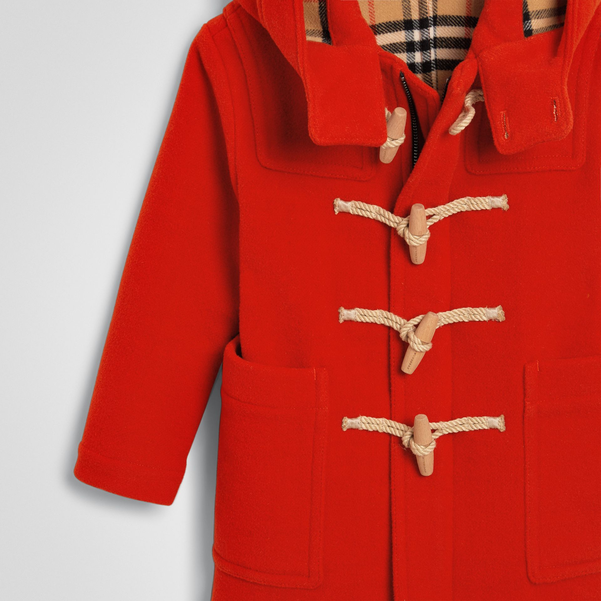 Double-faced Wool Duffle Coat in Orange Red | Burberry Hong Kong - gallery image 4