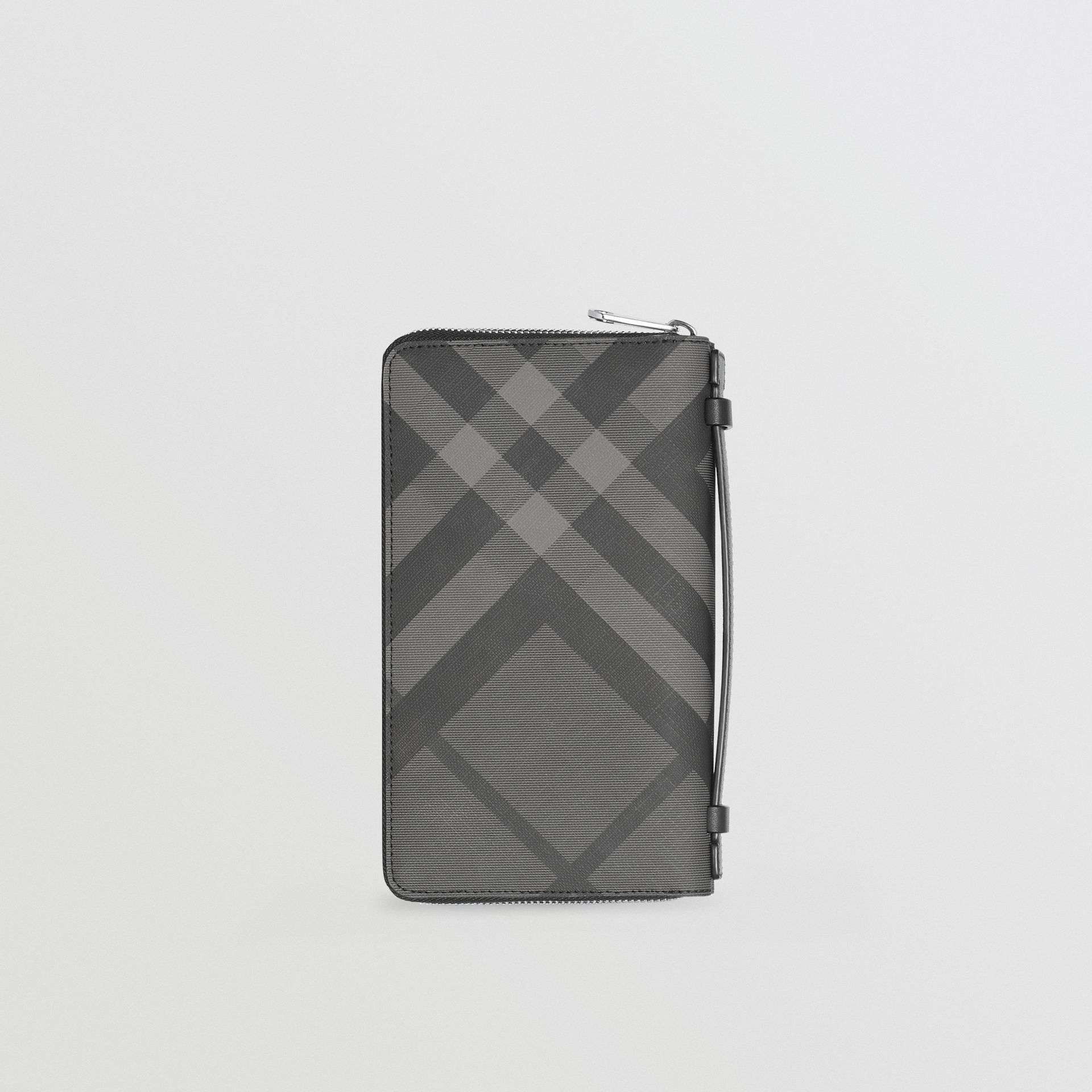 London Check and Leather Travel Wallet in Charcoal/black - Men | Burberry Canada - gallery image 5