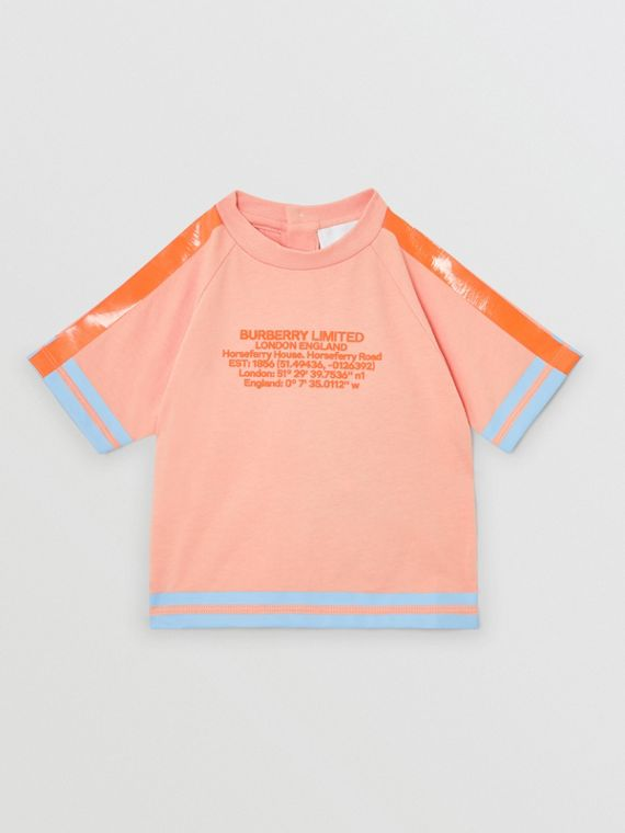 Location Print Cotton T-shirt in Peach
