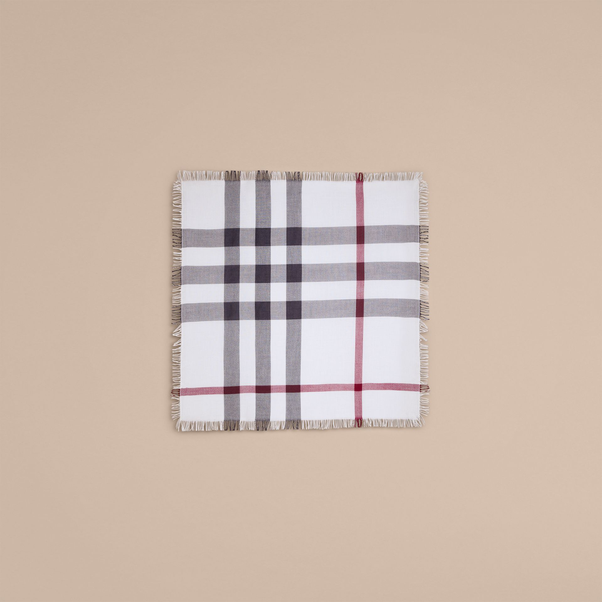 Ivory check Check Wool Square - Large Ivory - gallery image 4