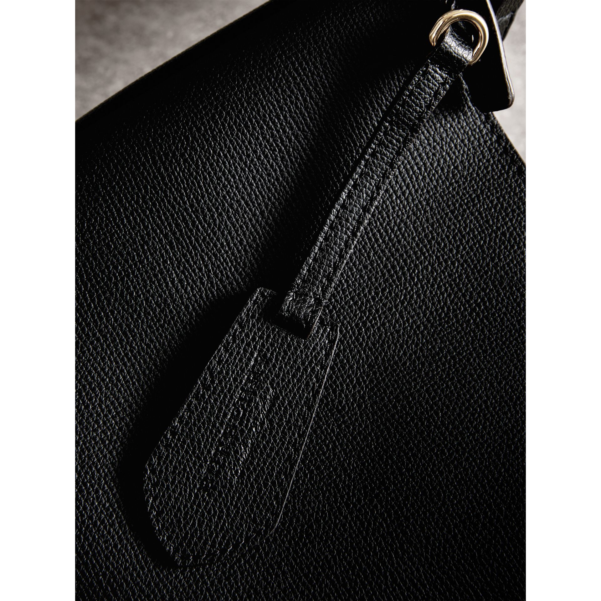 Leather and Haymarket Check Crossbody Bucket Bag in Black - Women | Burberry United States - gallery image 2
