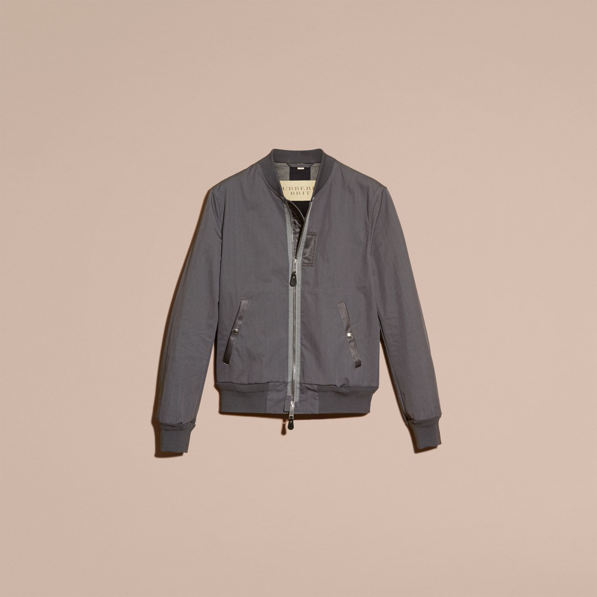 Airforce grey Matte Technical Cotton Bomber Jacket - gallery image 4