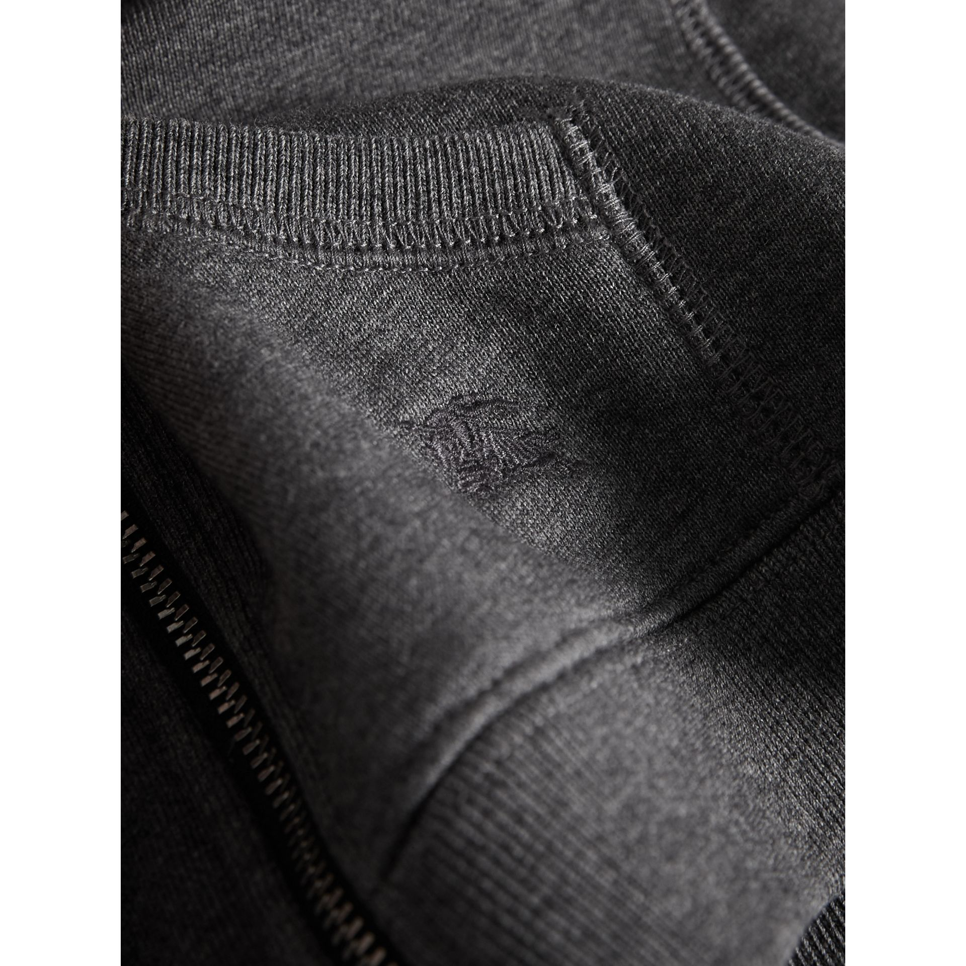Check Detail Hooded Cotton Top in Charcoal Melange | Burberry - gallery image 2