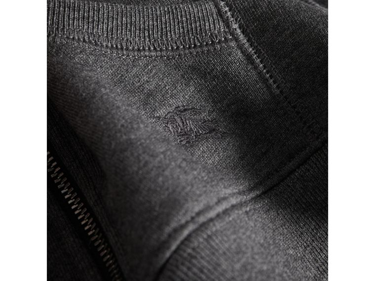 Check Detail Hooded Cotton Top in Charcoal Melange | Burberry - cell image 1