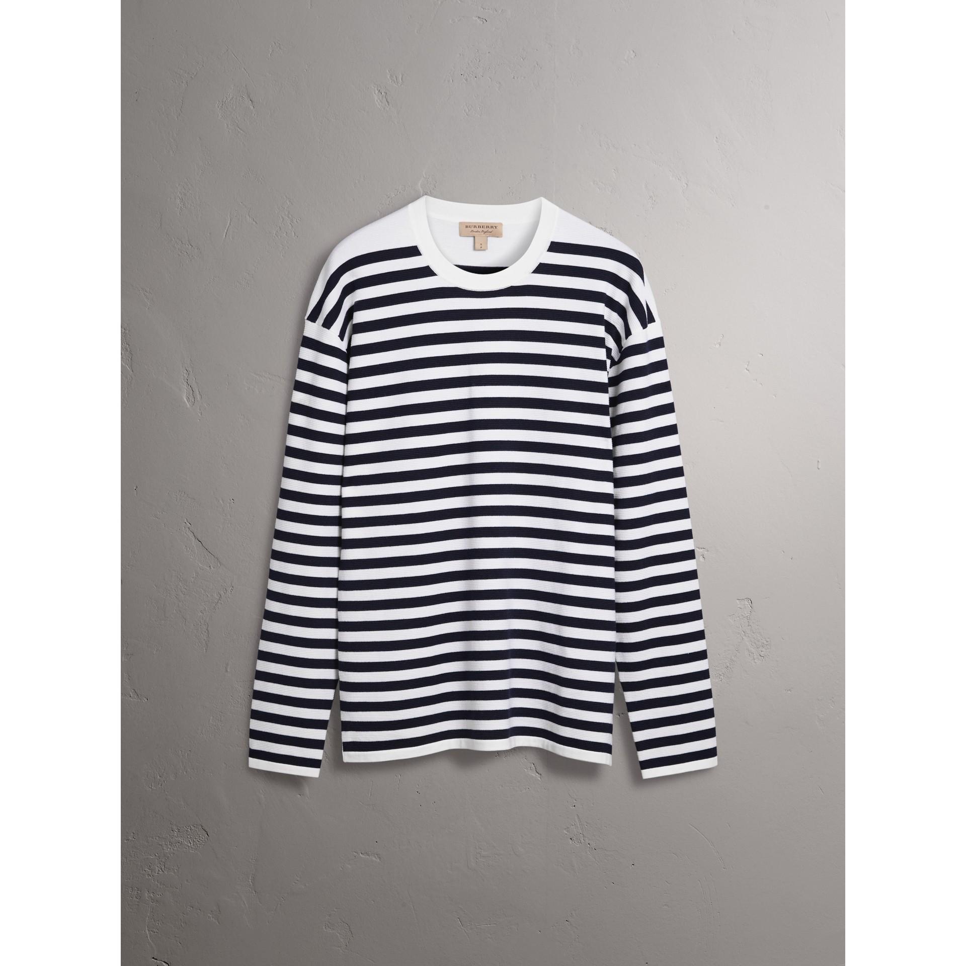 Breton Stripe Merino Wool Silk Blend Top in Navy - Women | Burberry - gallery image 3