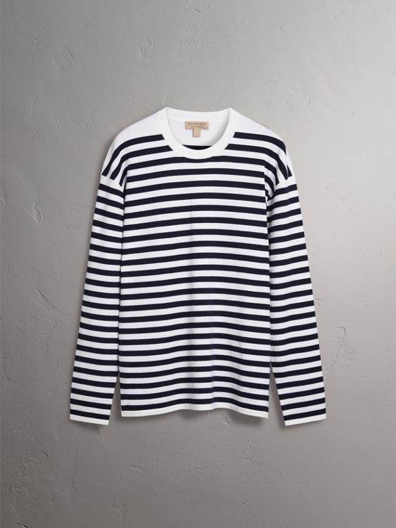 Breton Stripe Merino Wool Silk Blend Top in Navy - Women | Burberry - cell image 3