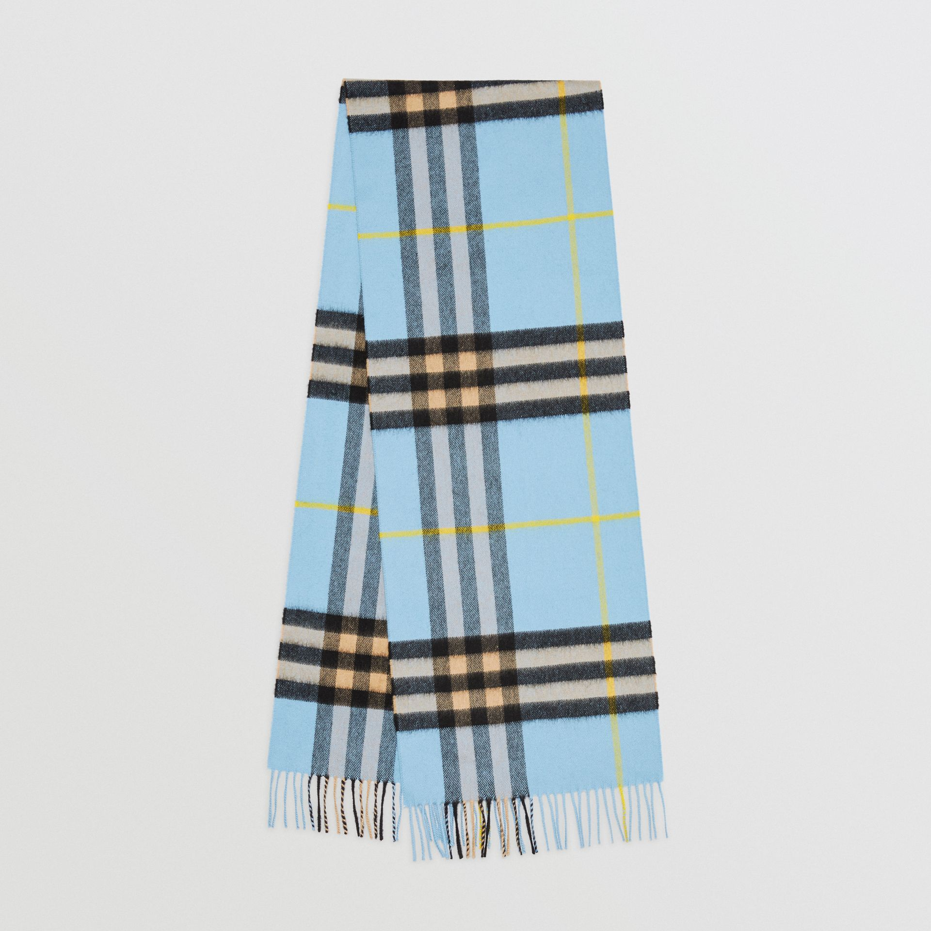 The Classic Check Cashmere Scarf in Pale Blue Carbon | Burberry United Kingdom - gallery image 0
