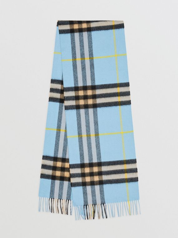 The Classic Check Cashmere Scarf in Pale Blue Carbon