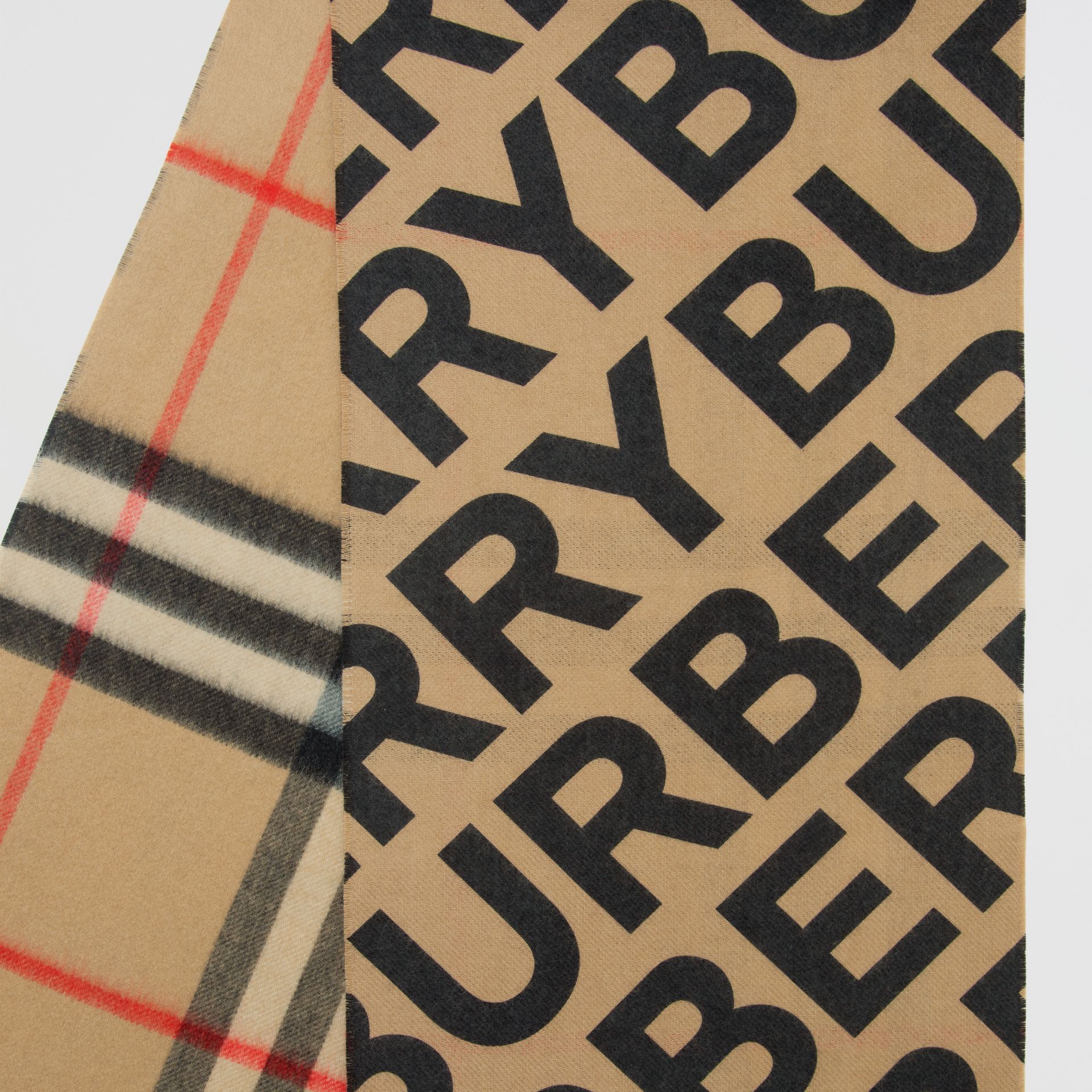 Logo Print Check Cashmere Scarf in Black | Burberry United States - gallery image 1