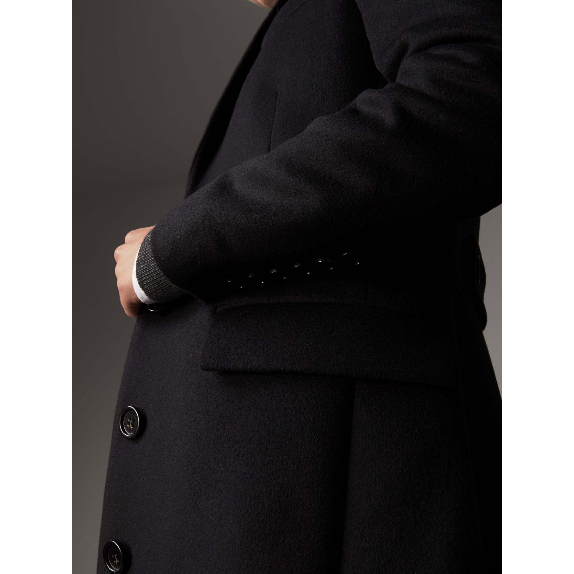 Wool Cashmere Tailored Coat in Black - Women | Burberry Australia - gallery image 2