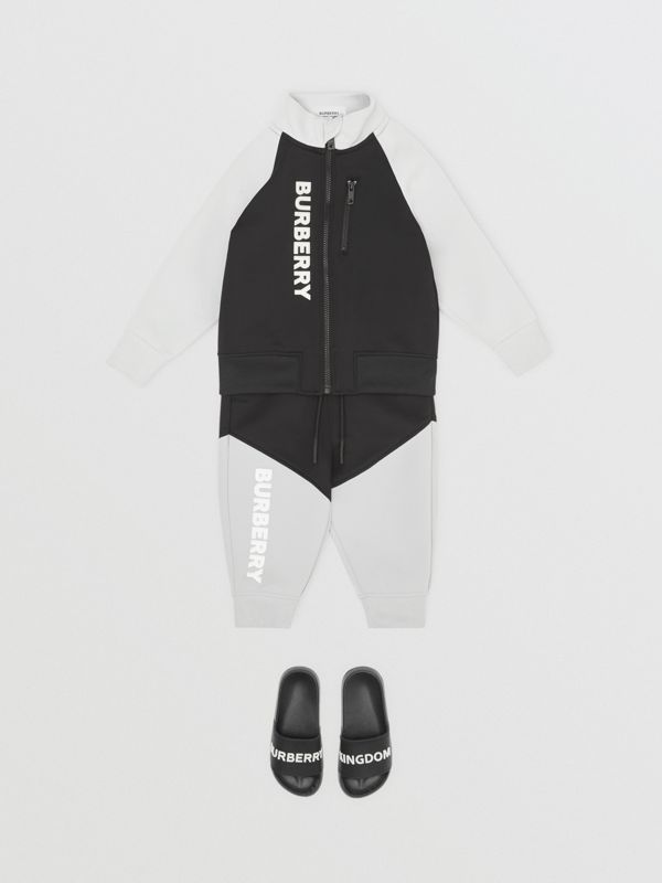 Logo Print Two-tone Stretch Jersey Trackpants in Black - Children | Burberry - cell image 2