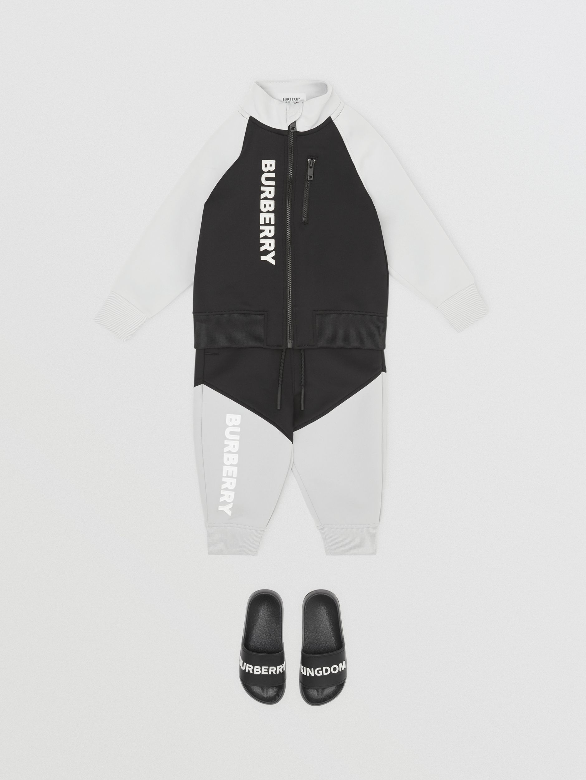 Logo Print Two-tone Stretch Jersey Trackpants in Black - Children | Burberry Singapore - 3