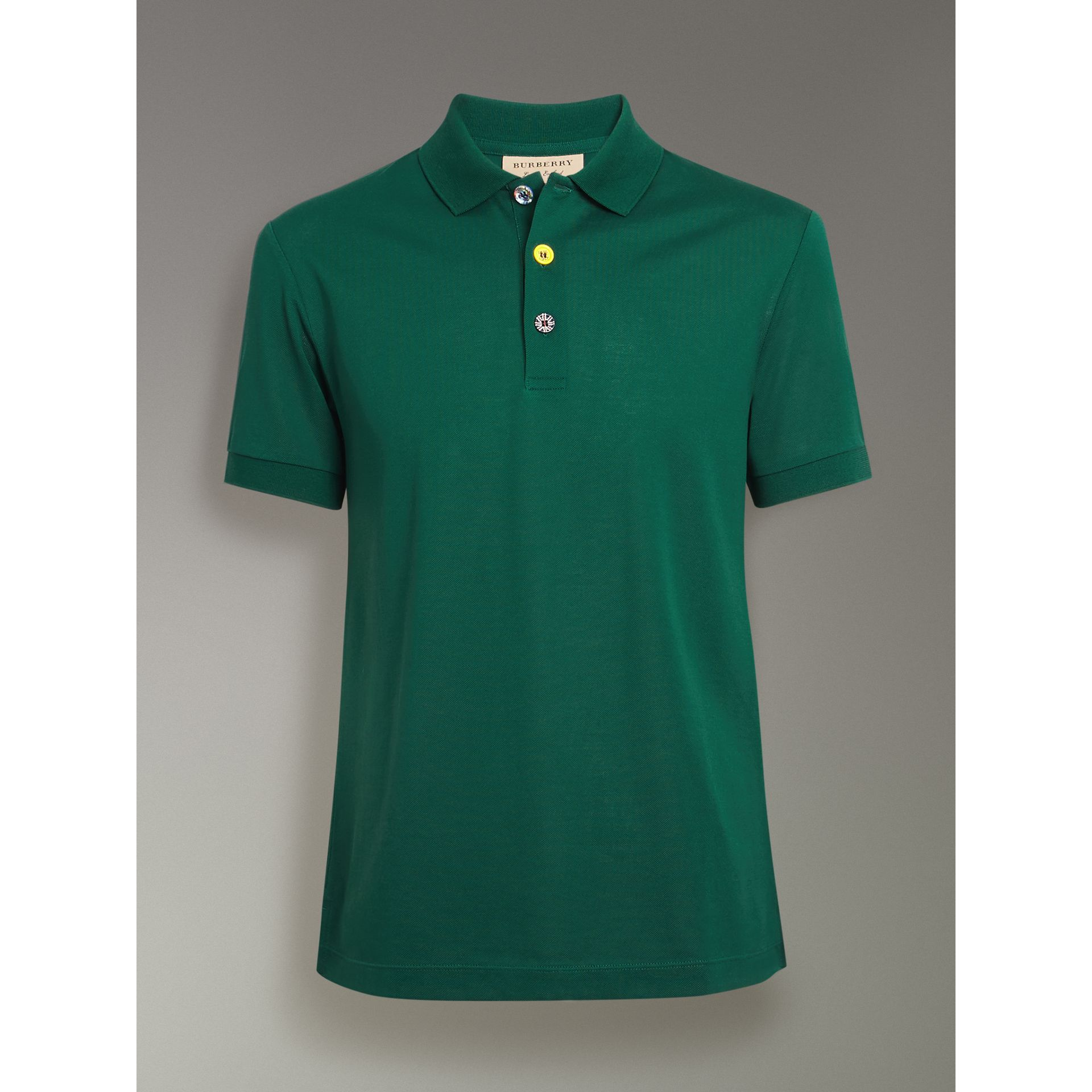 Painted Button Cotton Piqué Polo Shirt in Opal Green - Men | Burberry - gallery image 3
