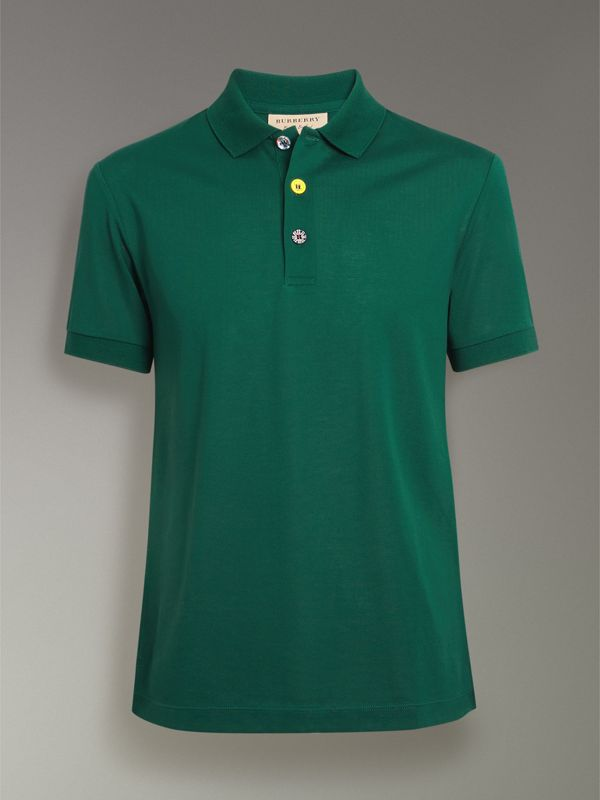Painted Button Cotton Piqué Polo Shirt in Opal Green - Men | Burberry - cell image 3