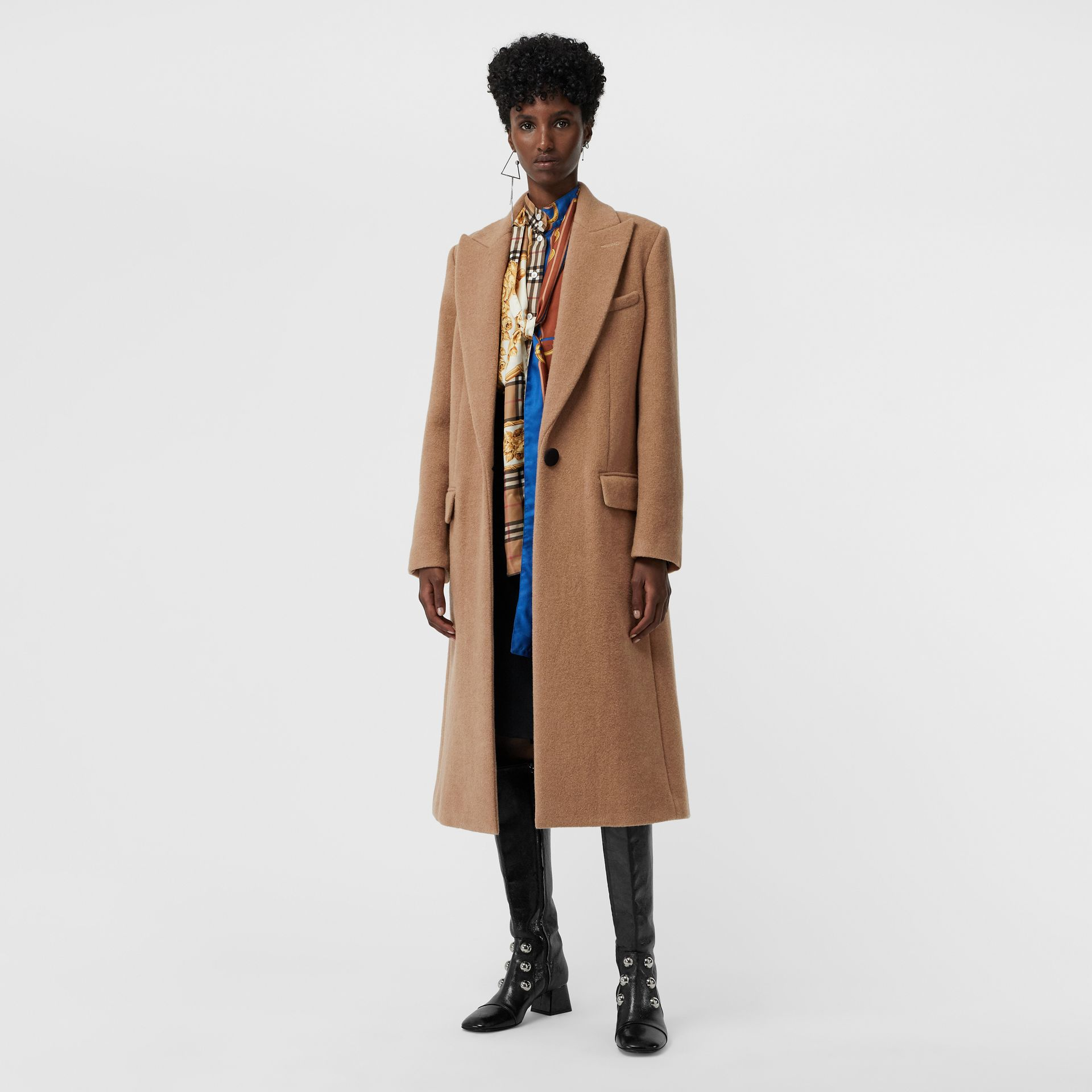 Oversized Lapel Camel Hair Tailored Coat - Women | Burberry United Kingdom - gallery image 0