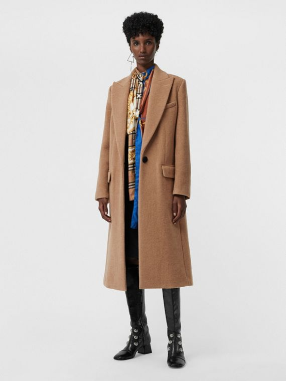 Oversized Lapel Camel Hair Tailored Coat