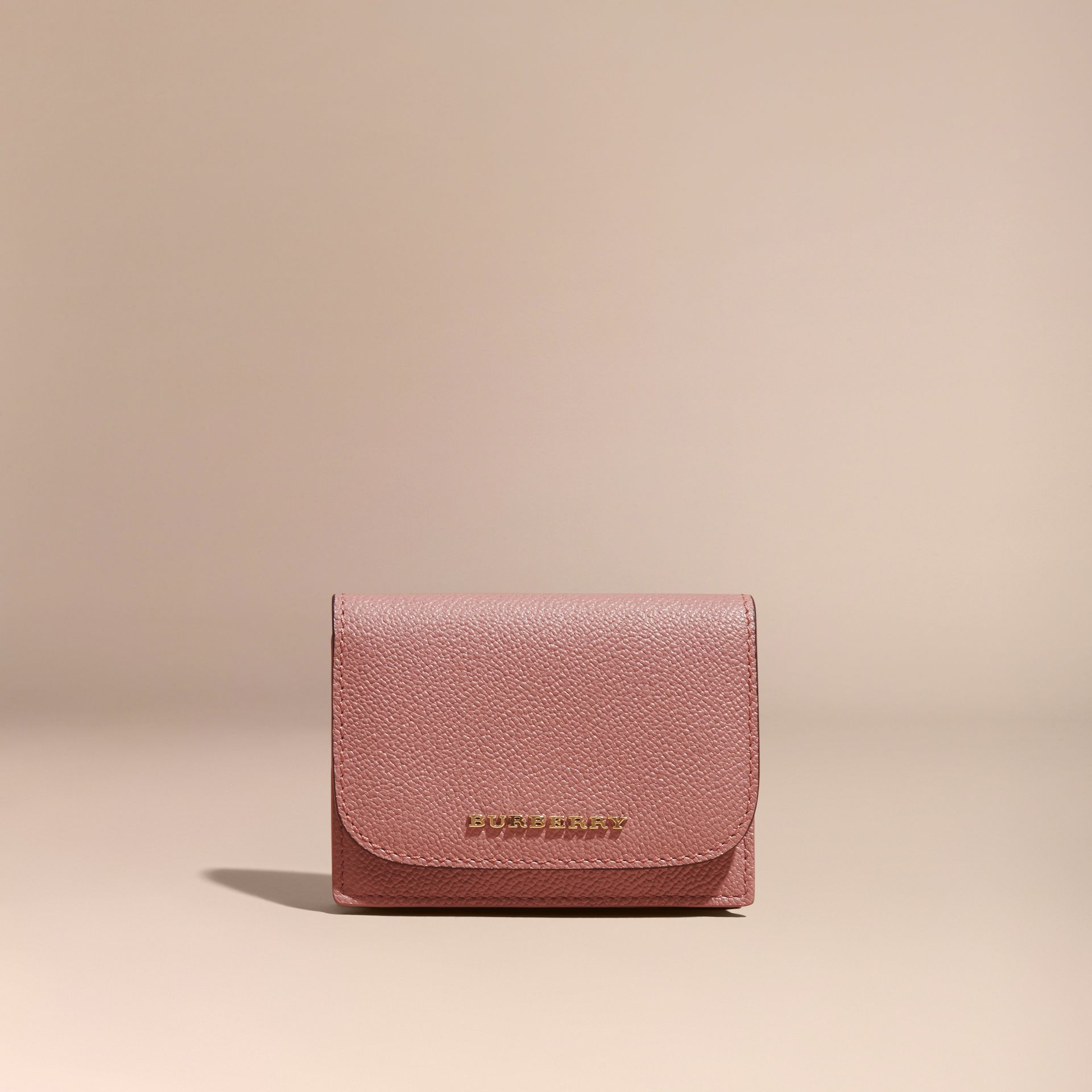 Grainy Leather Card Case in Dusty Pink - gallery image 6