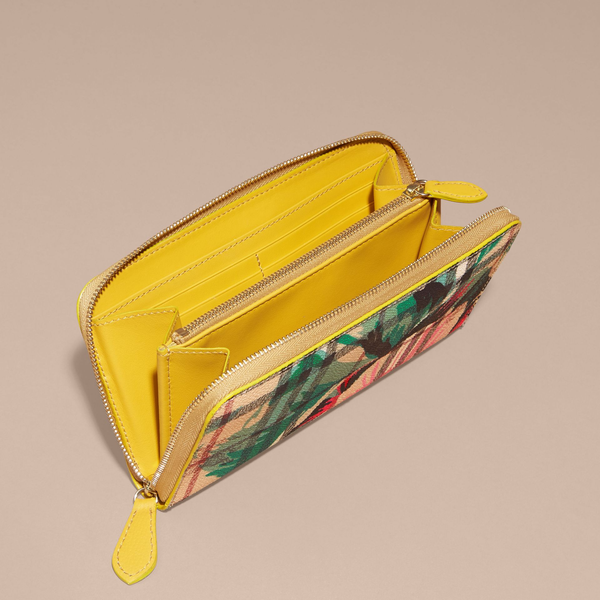 Larch yellow/emerald green Peony Rose Print Haymarket Check and Leather Ziparound Wallet - gallery image 5