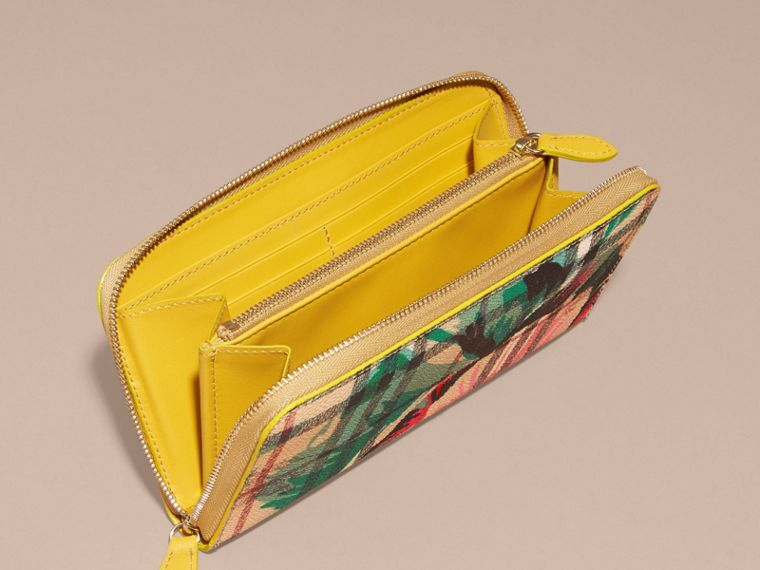 Larch yellow/emerald green Peony Rose Print Haymarket Check and Leather Ziparound Wallet - cell image 4