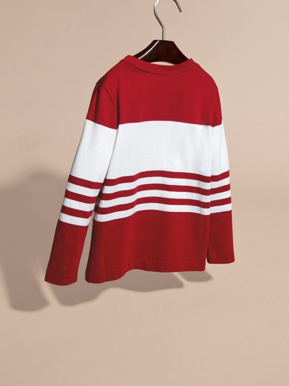 Parade red Long-sleeved Striped Cotton T-shirt Parade Red - cell image 3