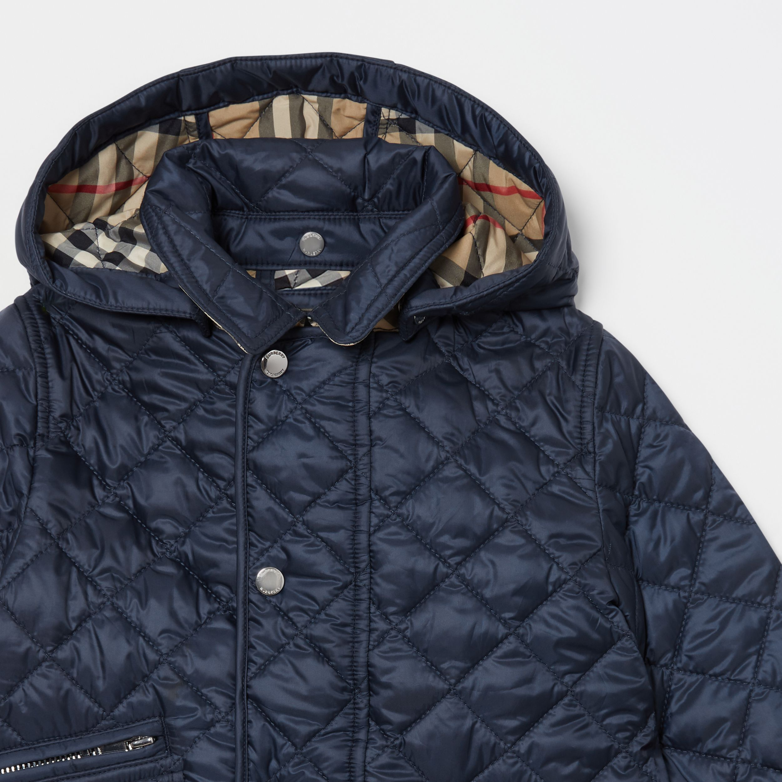 Detachable Hood Diamond Quilted Jacket in Navy - Children | Burberry - 2