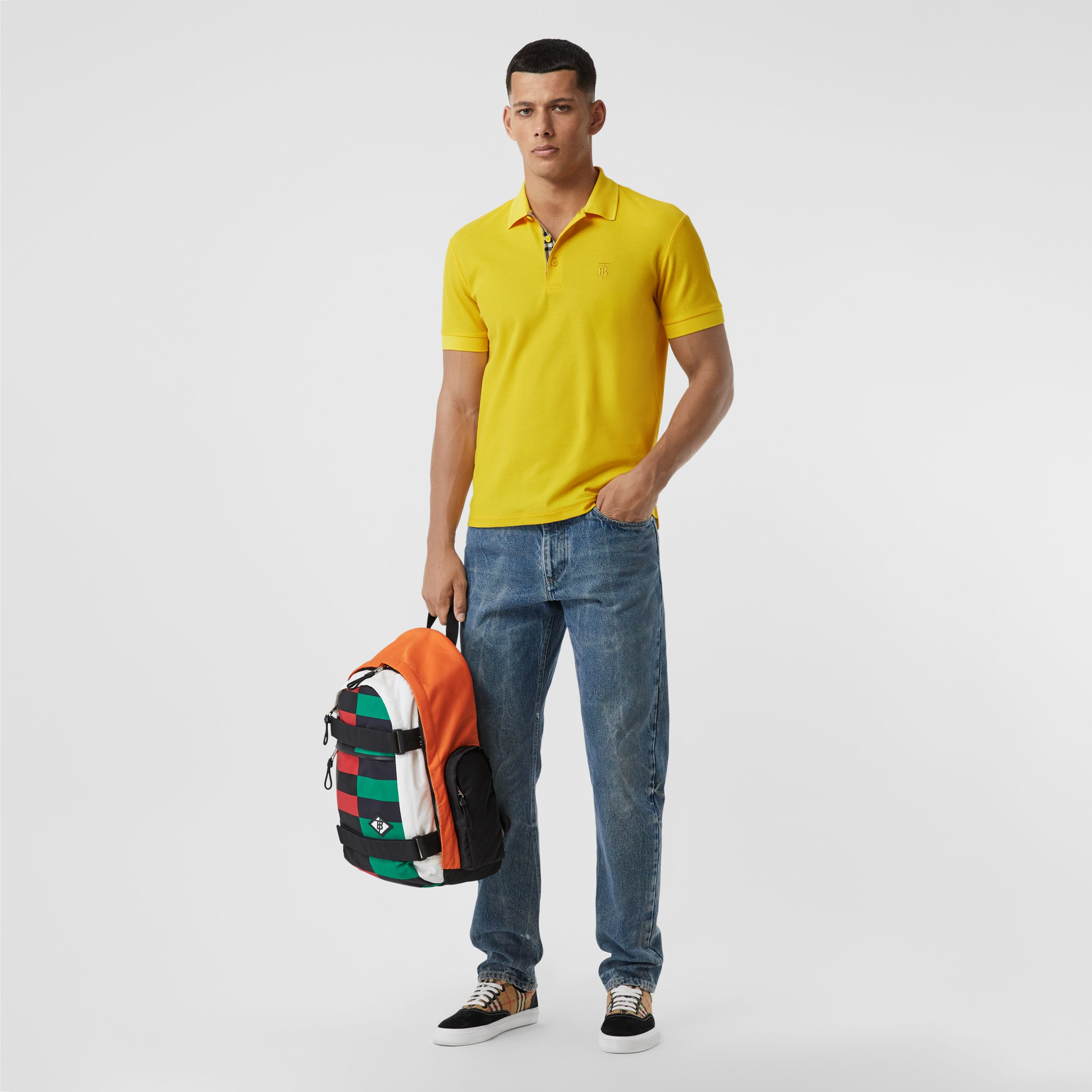 Monogram Motif Cotton Piqué Polo Shirt in Canary Yellow - Men | Burberry - 1