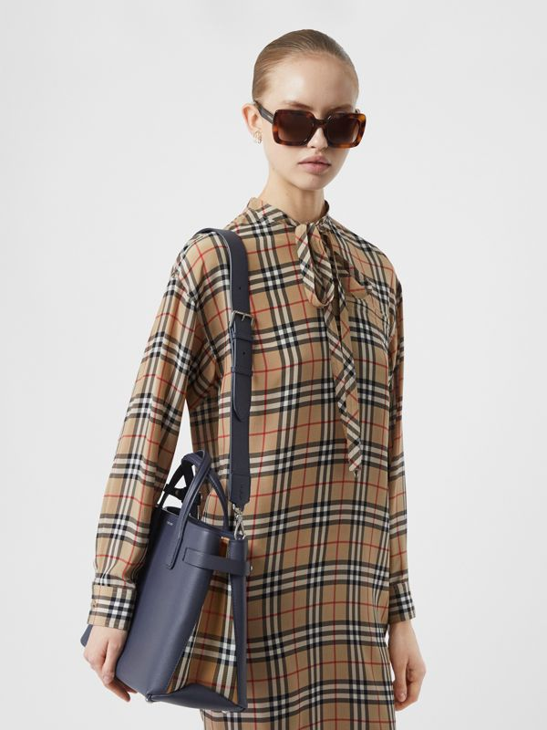The Medium Banner in Leather and Vintage Check in Regency Blue - Women | Burberry - cell image 2