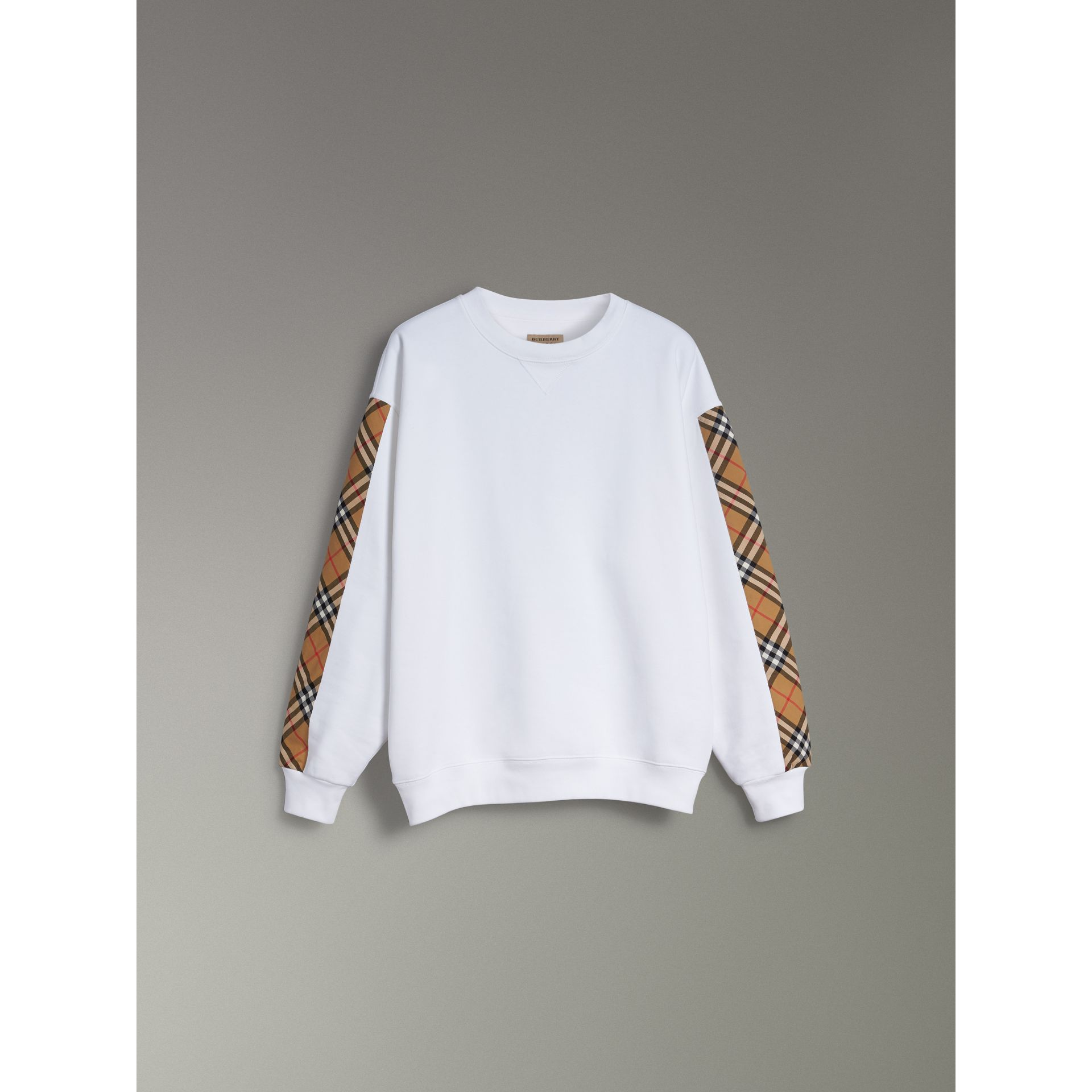Vintage Check Detail Cotton Blend Sweatshirt in White - Women | Burberry - gallery image 3